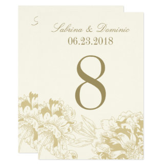 Wedding Table Number | Gold Floral Peony Design 13 Cm X 18 Cm Invitation Card
