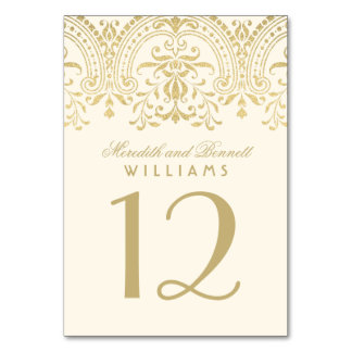Wedding Table Number | Ivory and Gold Colored Table Cards