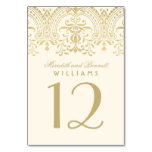 Wedding Table Number   Ivory and Gold Coloured Table Cards
