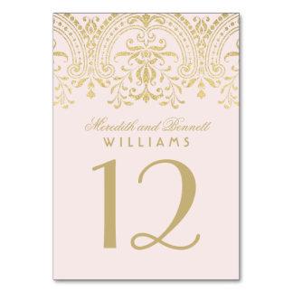 Wedding Table Number | Pink Gold Vintage Glamour