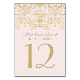 Wedding Table Number | Pink Gold Vintage Glamour Table Card