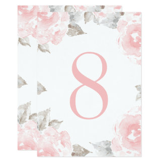 Wedding Table Number | Pink Watercolor Roses 11 Cm X 16 Cm Invitation Card