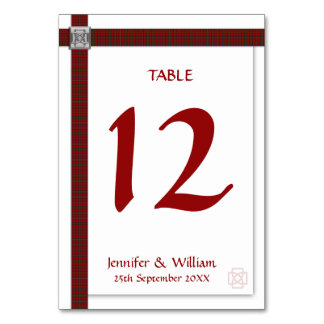 Wedding Table Number Scottish Tartan & Celtic Knot