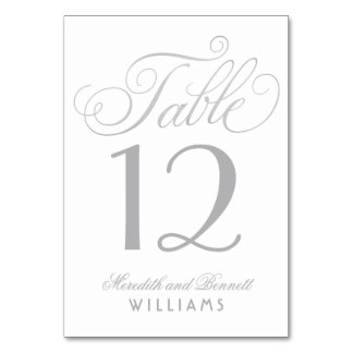 Wedding Table Number | Silver Script Monogram