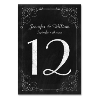 Wedding Table Number Vintage Chalkboard Scrollwork Table Cards