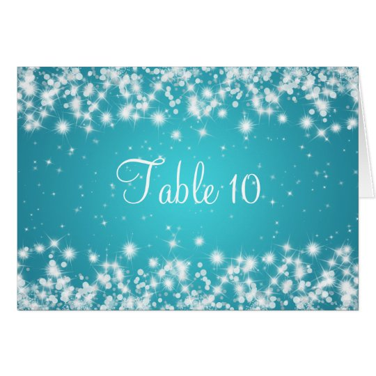Wedding Table Number Winter Sparkle Blue
