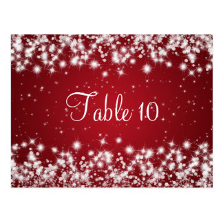 Wedding Table Number Winter Sparkle Red Postcard