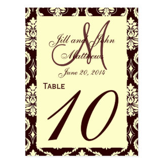 Wedding Table Numbers Brown Ivory Damask Postcard