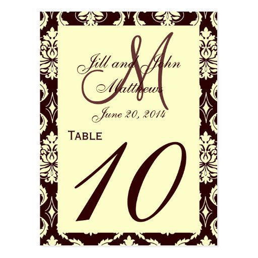 Wedding Table Numbers Brown Ivory Damask Postcards