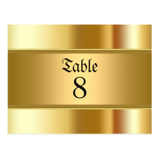 Wedding table Numbers Gold Postcard