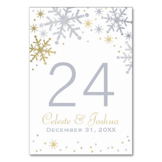 Wedding Table Numbers | Silver and Gold Snowflakes Table Card