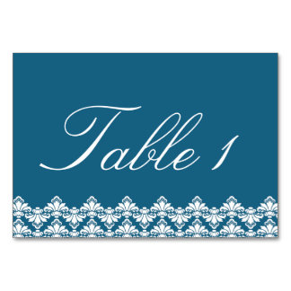 Wedding Tablecard Setting Antique Damask Teal Table Cards