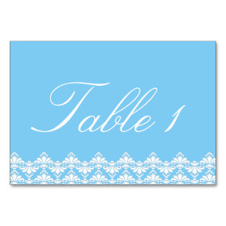 Wedding Tablecard Setting Antique Damask Turquoise Table Cards