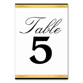 Wedding Tablecard Setting Black Faux Gold Chevron Table Card