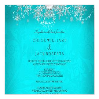 Wedding Teal Crystal Pearl Snowflake Silver Winter 13 Cm X 13 Cm Square Invitation Card