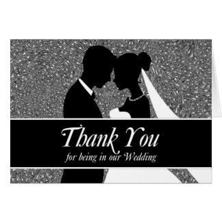 Wedding Thank You Black and White Bride and Groom Card