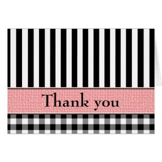 Wedding Thank You Black White Pink Designer Greeting Card