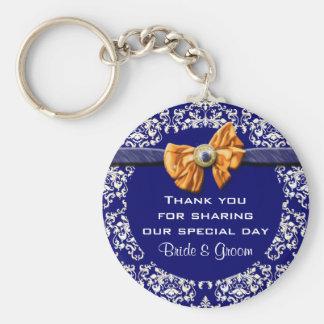 "Wedding ""thank you"" blue white damask basic round button key ring"
