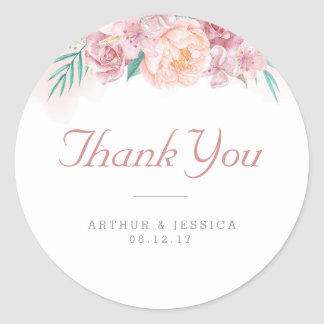 Wedding Thank You | Blush and Blooms Round Sticker