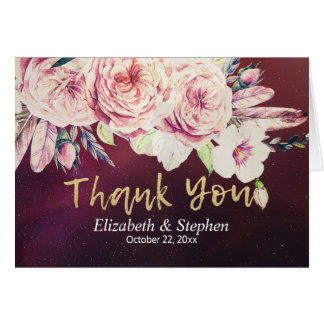 Wedding Thank You Boho Floral Feather Burgundy Red Card