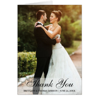 Wedding Thank You Bride & Groom Photo Note Card
