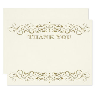 Wedding Thank You Card | Antique Gold Flourish