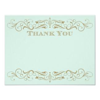 Wedding Thank You Card | Antique Gold Flourish 11 Cm X 14 Cm Invitation Card