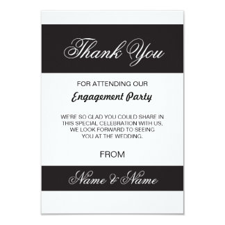 Wedding Thank You Card Black and White Stripe