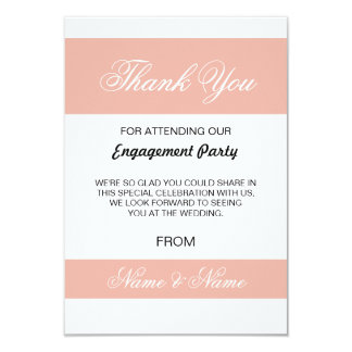 Wedding Thank You Card Coral and White Stripe