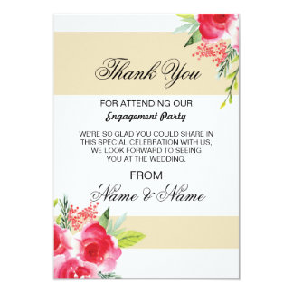 Wedding Thank You Card Cream Stripe Floral Red