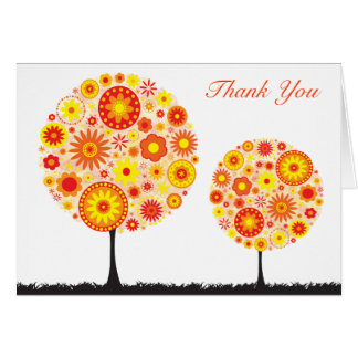 Wedding Thank You Card  Flower Wishing Tree Orange