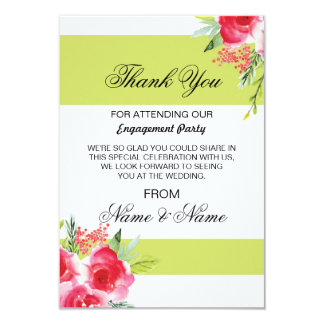 Wedding Thank You Card Lime Green Stripe Flora