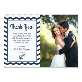 Wedding Thank You Card , Nautical Flat Card
