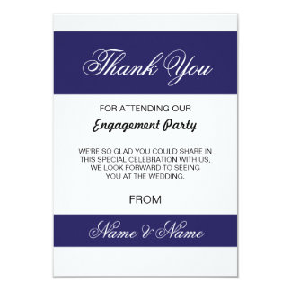 Wedding Thank You Card Navy and White Stripe