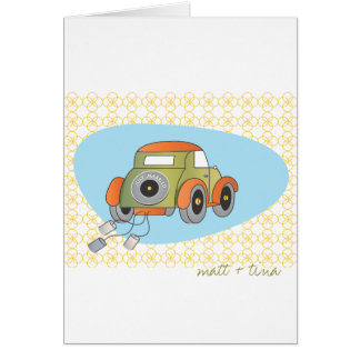 Wedding Thank You Card - Retro Just  Married Car