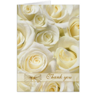 Wedding Thank you Card - white-cream roses