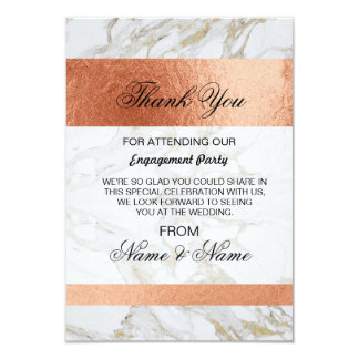 Wedding Thank You Card White Marble Rose Gold