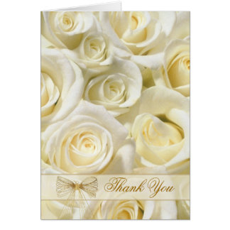 Wedding Thank You Card with white-cream roses