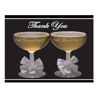 Wedding Thank you cards with champagne glasses Postcard