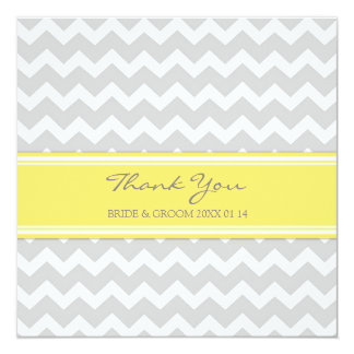 Wedding Thank You Cards Yellow Gray Chevron 13 Cm X 13 Cm Square Invitation Card