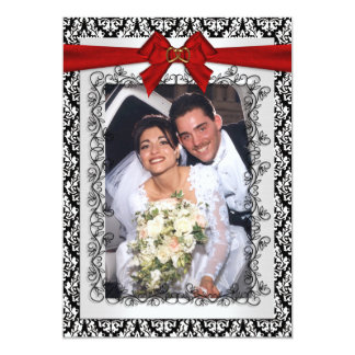 Wedding thank you Damask with red bow 13 Cm X 18 Cm Invitation Card