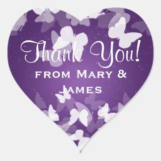 "Wedding ""Thank you"" Elusive Butterflies Purple Heart Sticker"
