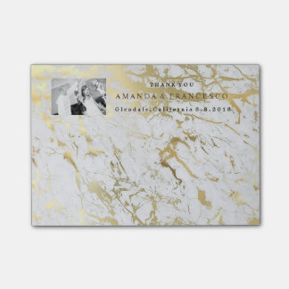 Wedding Thank You Favor Gold Gray Marble Post-it Notes