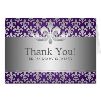 "Wedding ""Thank you"" Fleur De Lis Purple Card"