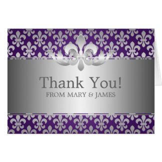 """Wedding """"Thank you"""" Fleur De Lis Purple Cards"""