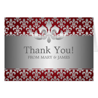"Wedding ""Thank you"" Fleur De Lis Red Card"
