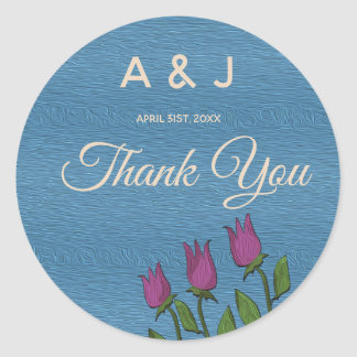 Wedding Thank You Floral Blue Oil Paint Rustic Art Classic Round Sticker