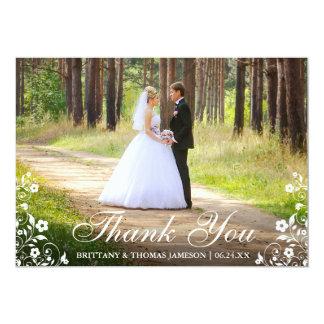 Wedding Thank You Floral Trim Photo Card