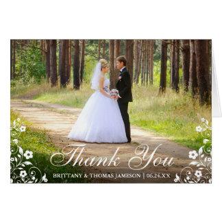 Wedding Thank You Floral Trim Photo Fold Card