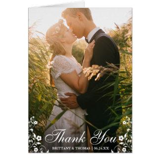 Wedding Thank You Floral Trim Photo Fold Card L